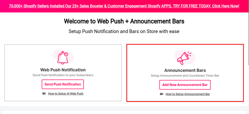 Welcome to web push and announcement bar