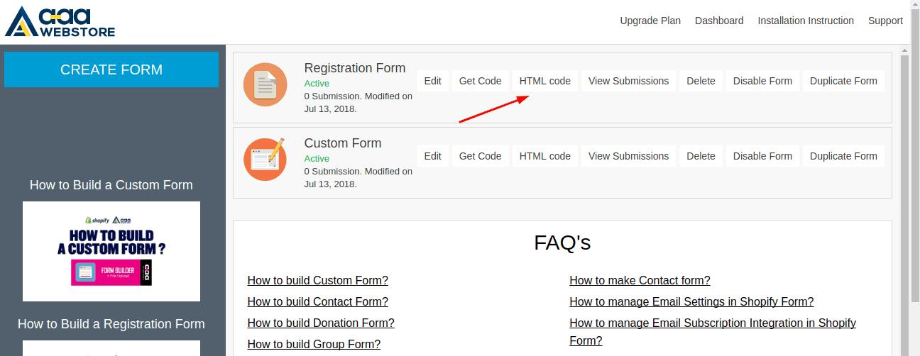 Form builder HTML Code