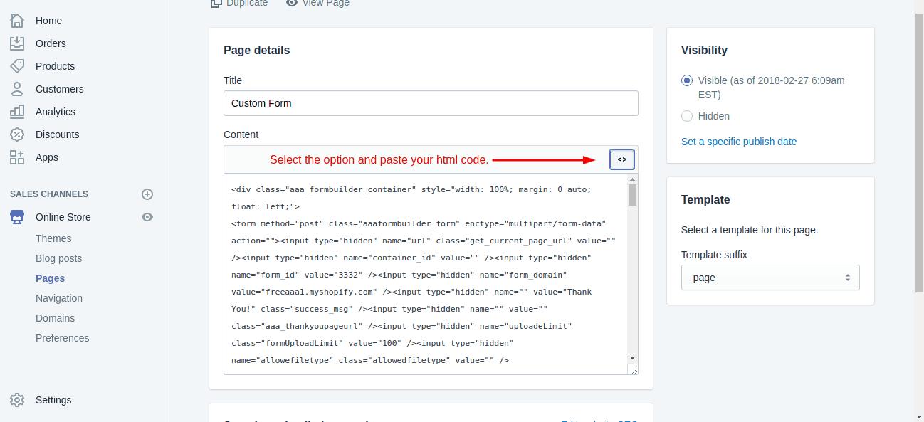 Edit HTML Code