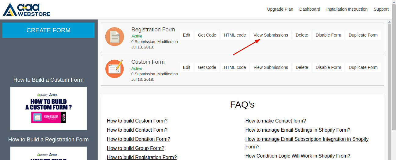 Form Builder View submission