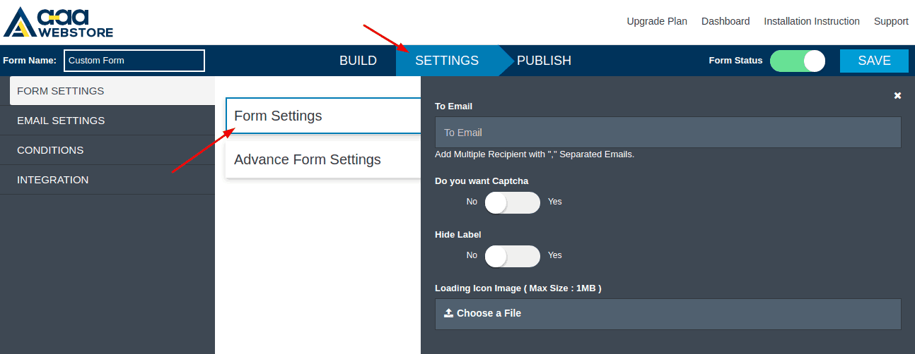 Form Builder settings