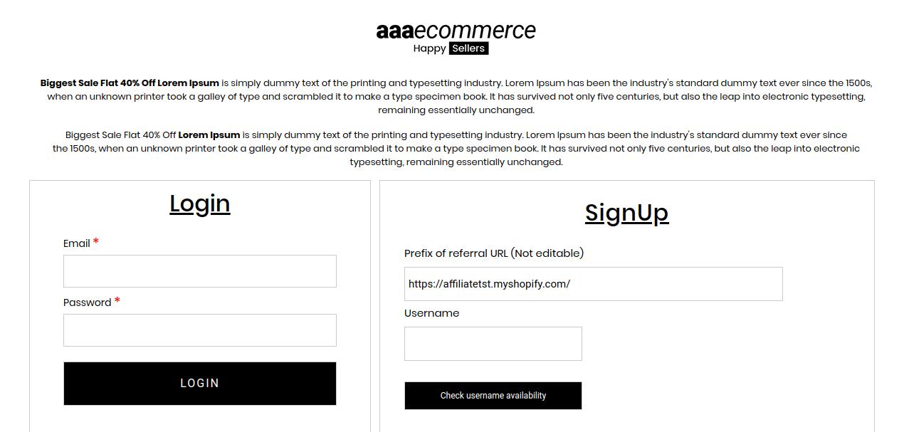 Affiliate login and register