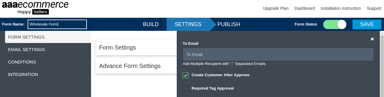 Create customer after approve form builder