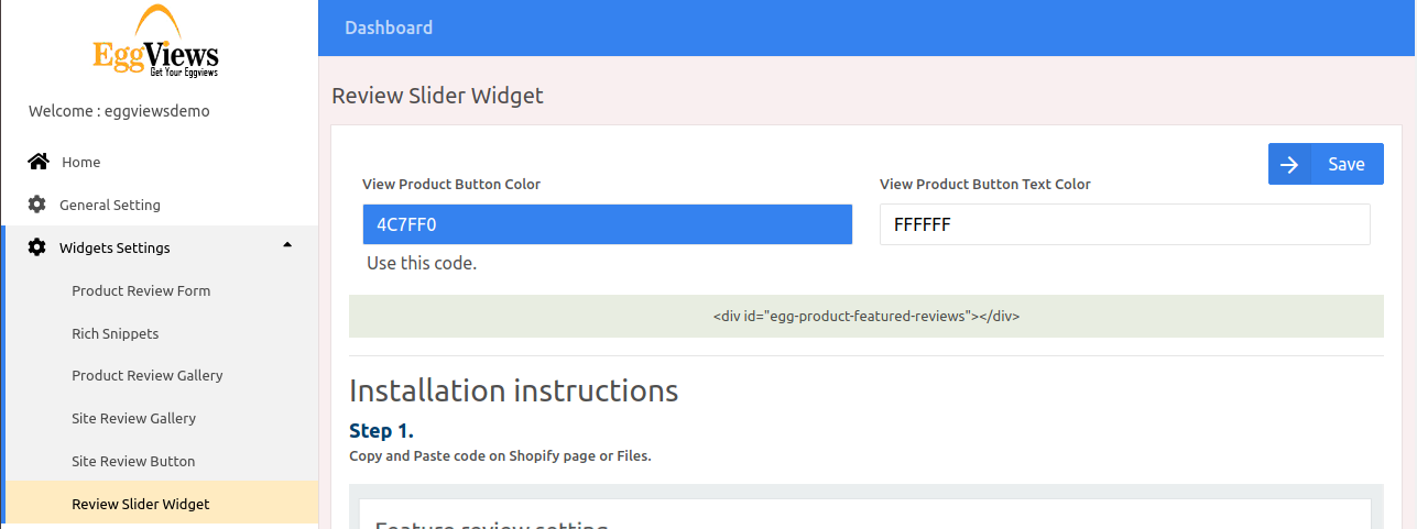 Review slider widget