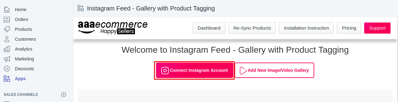 Connect Instagram feed