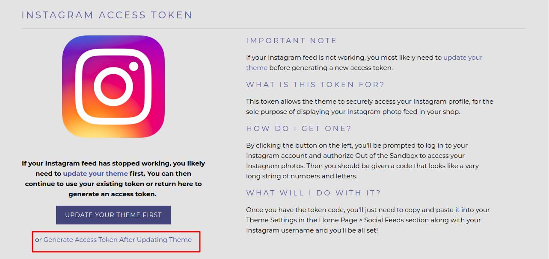 Instagram generate access token