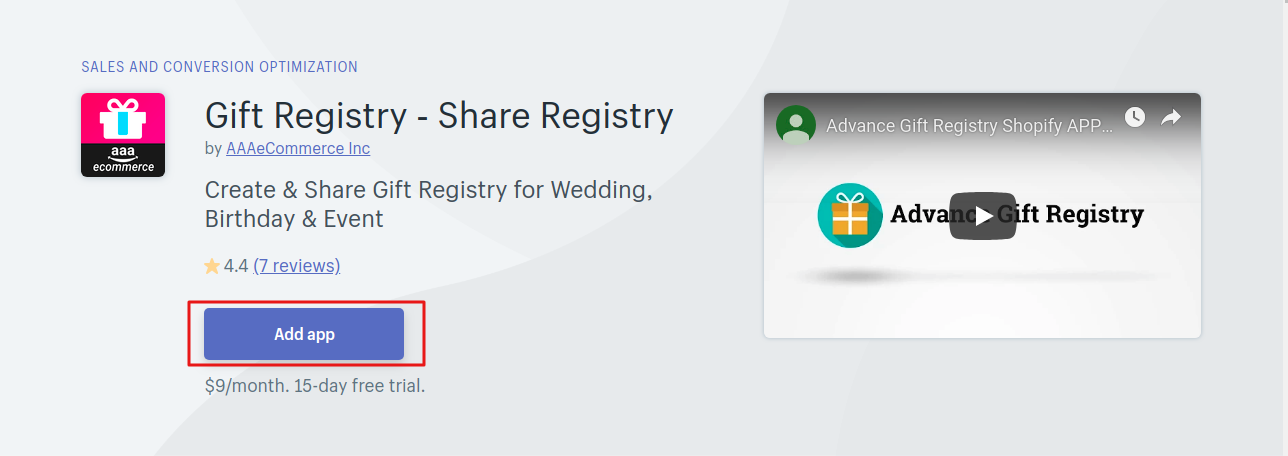 Install The Advance Gift Registry App From Shopify Store