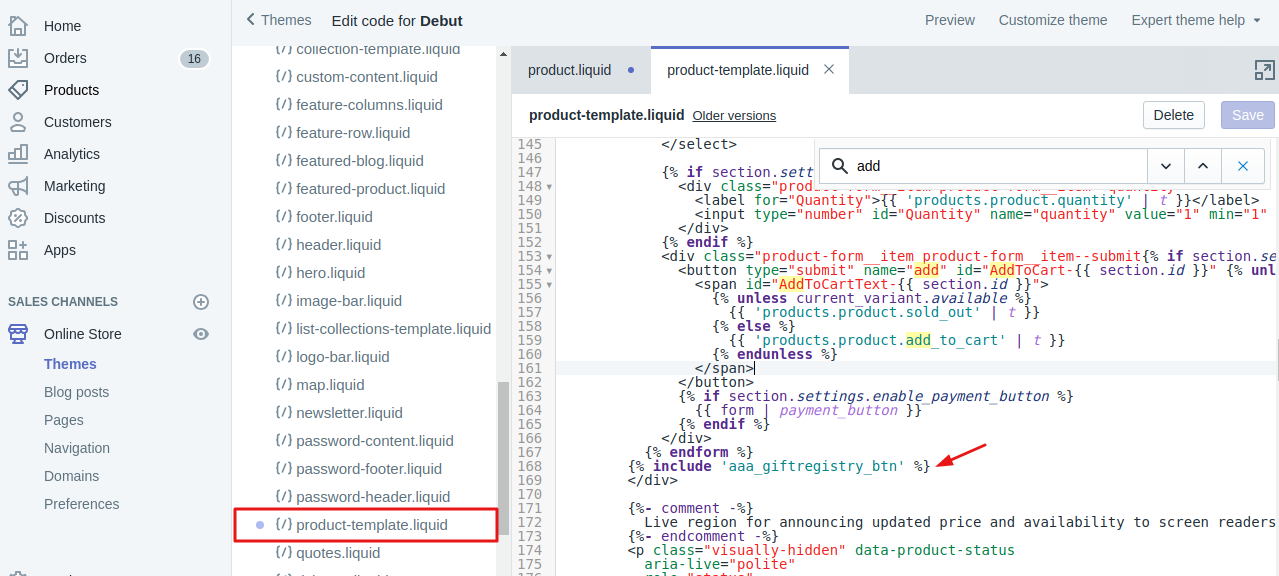 How to insert snippet code in Shopify store?   aaaecommerce