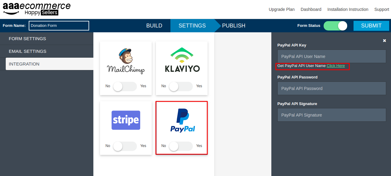 How to connect paypal or stripe with the formbuilder