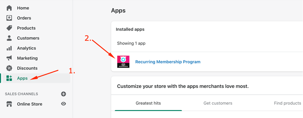 Shopify Membership App Install