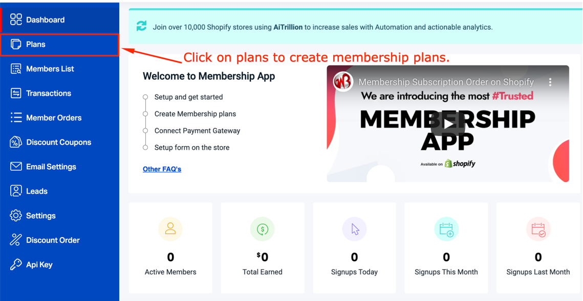 create membership paid or free plans on Shopify