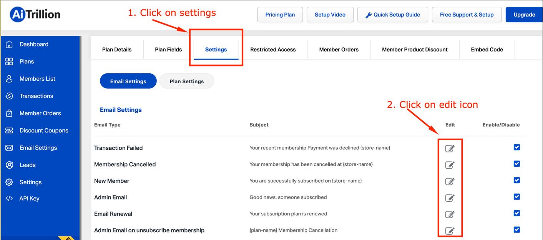 Shopify recurring membership app email autoresponde